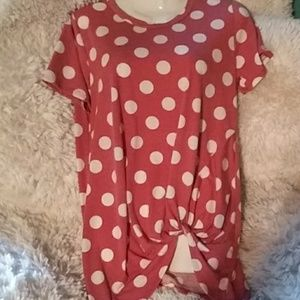 Boutique brand big polka dot side tie top